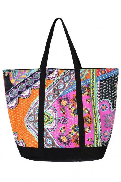 0f6ec88516c3 Большая мягкая пляжная сумка с цветным принтом и вышивкой Vacanze ...