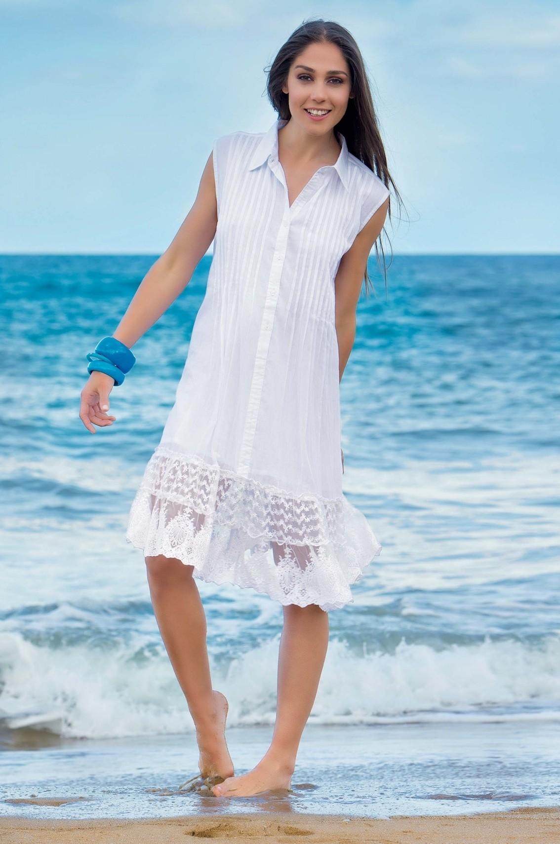 dd4b9c9a38cf Белое пляжное платье с гипюром Iconique IC7 001