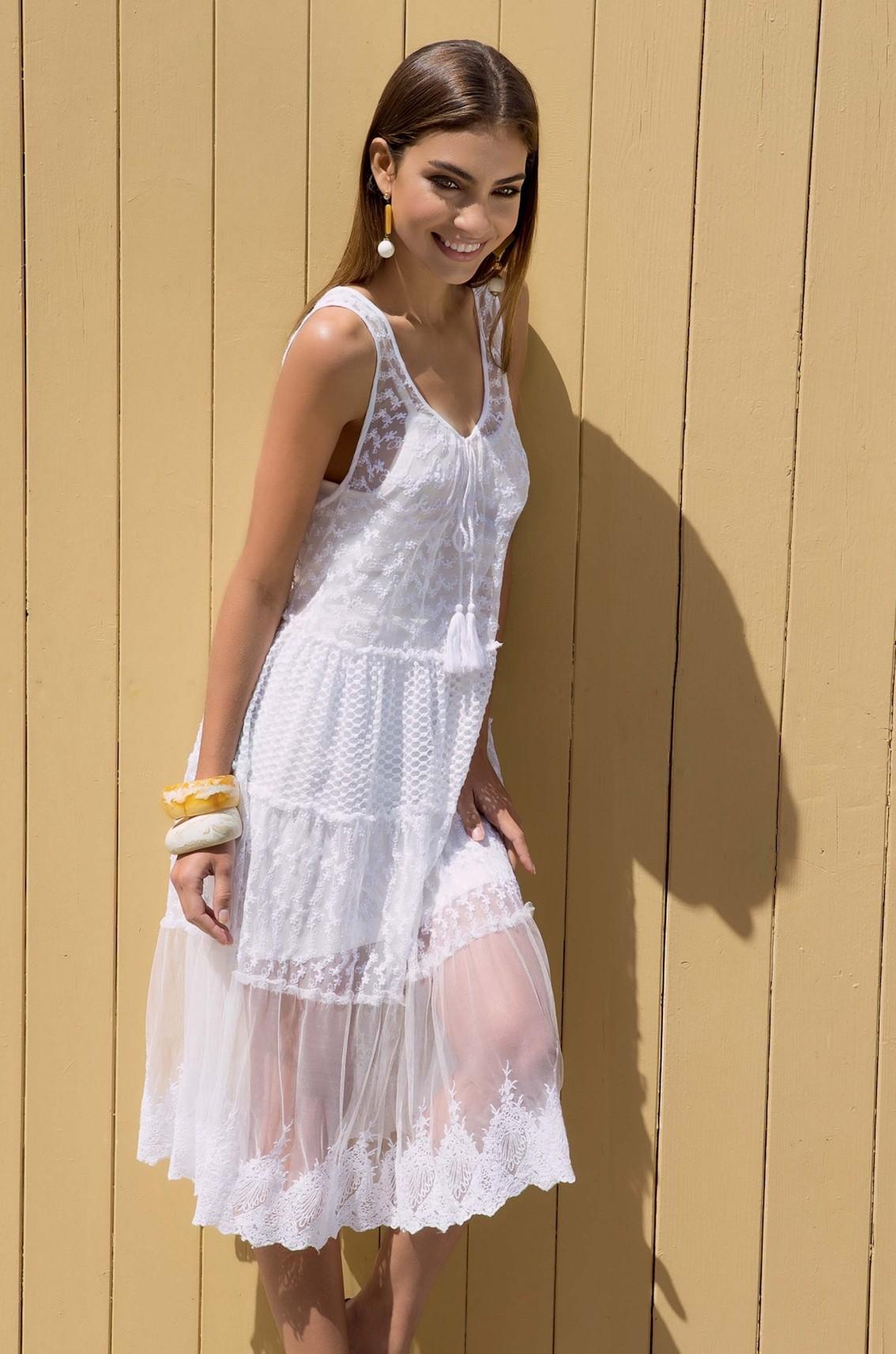 ceed2ae77c9a Белое пляжное платье для девушки Iconique IC7 015 W