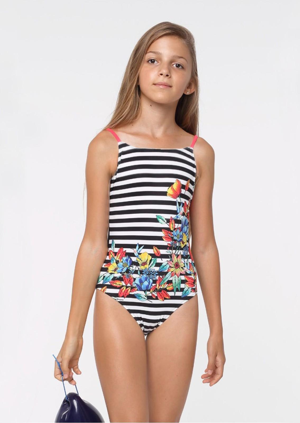 24e12422dbe4a Слитный полосатый купальник для девочек и цветочным принтом Keyzi ...