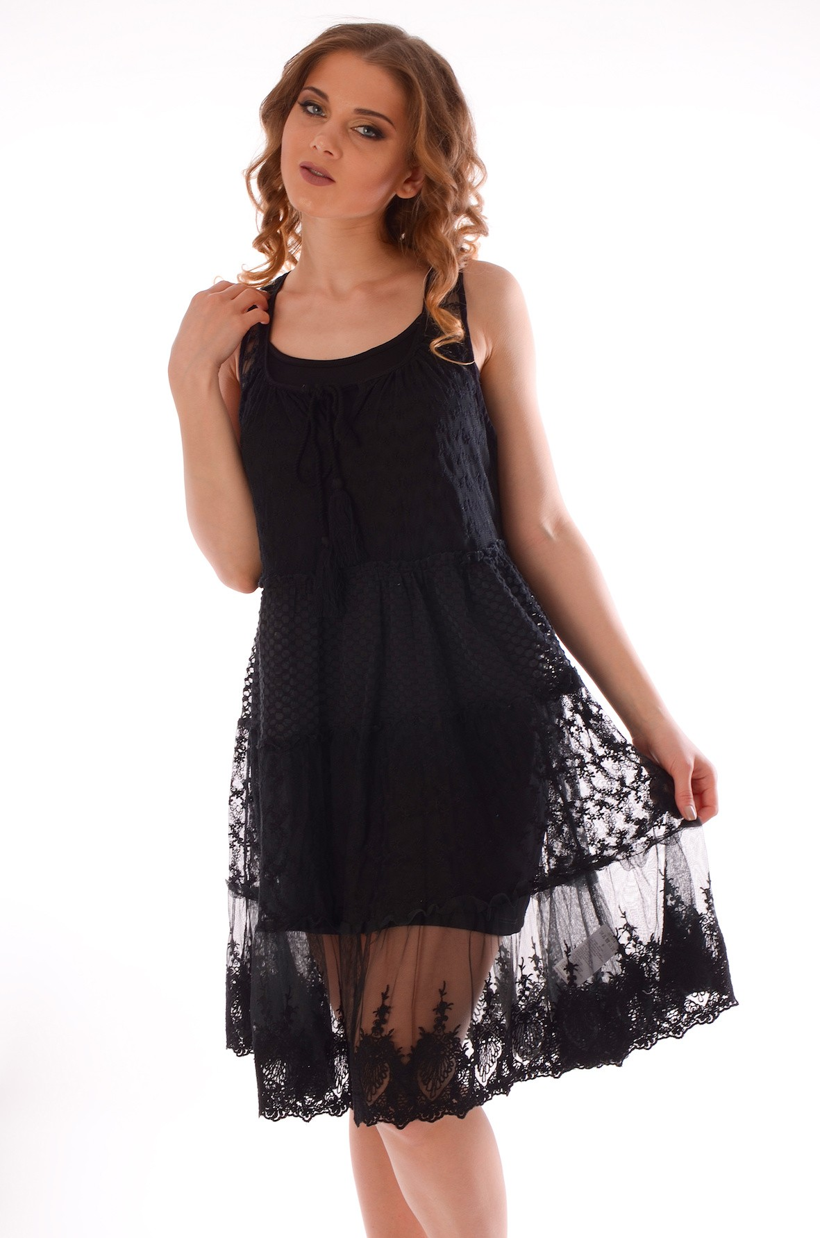 a4e7cd3ec19e Черное пляжное платье без рукавов Iconique IC7 015 N
